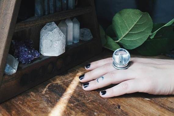 Clear Quartz Crystal Ball Sterling Silver Ring