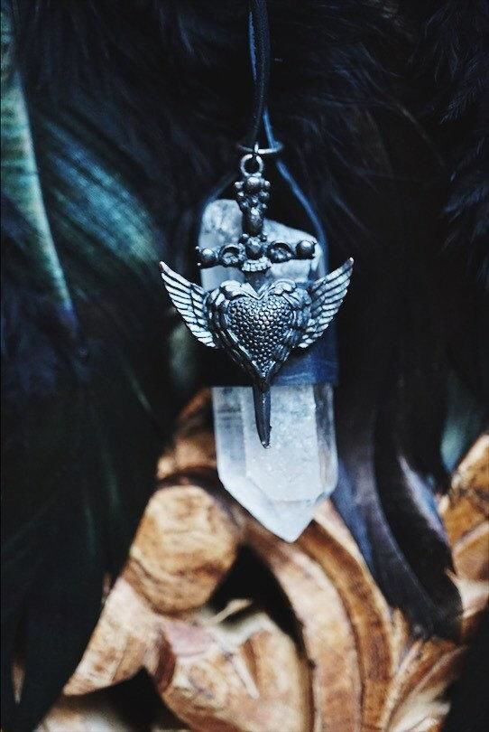 Heart of Swords Necklace - Large Quartz Wrapped in Leather Necklace