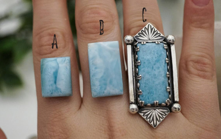 CUSTOM Sterling Silver Larimar Ring