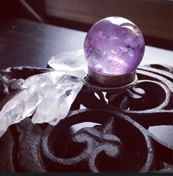 Large Amethyst Crystal Ball Ring