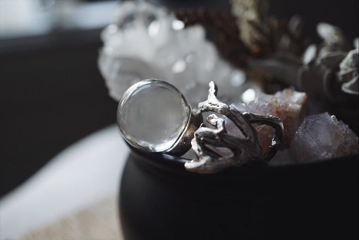 Large Branch Clear Quartz Crystal Ball Ring Ring