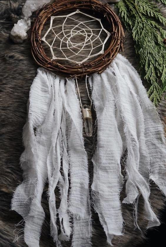 Moon Clear Quartz Dream Catcher