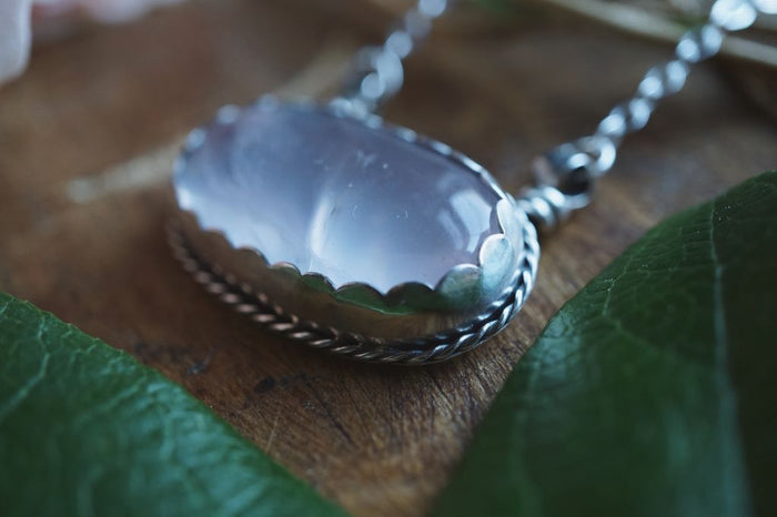 Oval Rose Quartz Sterling Silver Necklace Sterling Silver
