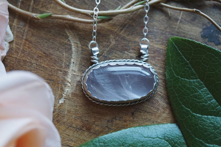 Oval Rose Quartz Sterling Silver Necklace