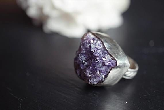 Raw Amethyst Sterling Silver Ring -Size 8.5 Sterling Silver
