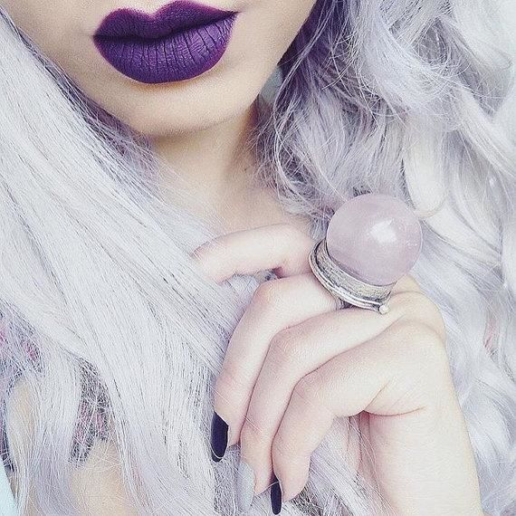 Rose Quartz Crystal Ball Ring