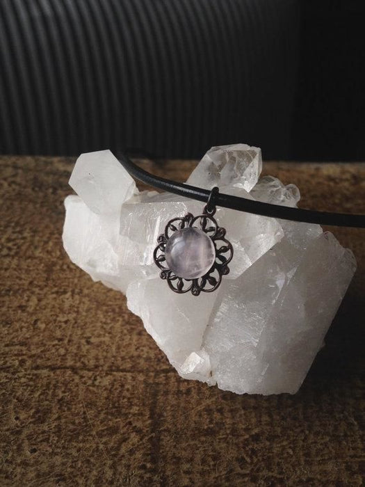 Rose Quartz Mandala Choker Necklace