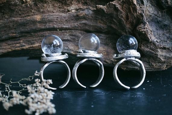 Small Clear Quartz Crystal Ball Ring Ring