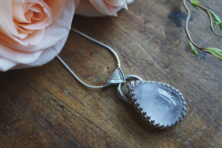 Teardrop Rose Quartz Sterling Silver Necklace