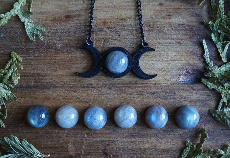 Triple Moon Goddess Labradorite Necklace Necklace
