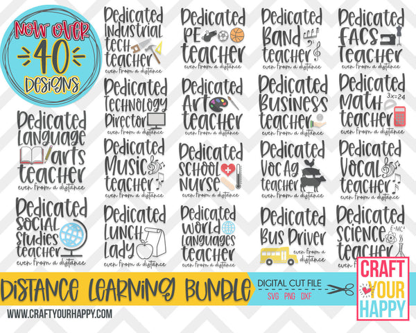 Distance Learning Bundle - Updated to over 40 Dedicated School Staff Designs - PNG, DXF, SVG