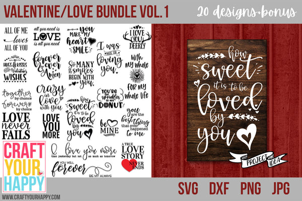Svg Cut File Bundles Valentine Love Bundle Vol 1 Craft Your Happy Shop