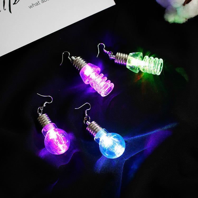 1Pair Fashion Women Light Up Earring LED Blinking Bulb Ear Hook Dangle Jewelry Colourful luminous bulb Earring #30