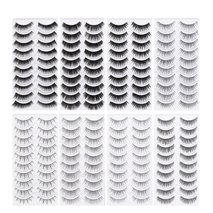80 Pairs Natural Fake Eyelashes 8-Style Thick Long Eye Lashes for Women Lady Teenager Girls