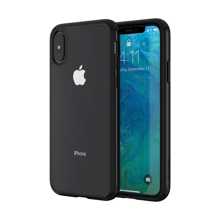 Altigo iPhone XS Case (Also fits iPhone X) - Clear Case with Solid Black Bumper