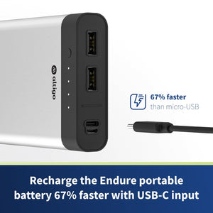 Endure 13400mAh Dual USB-C, Micro USB Input & 2 Port High Speed Output Portable Charger