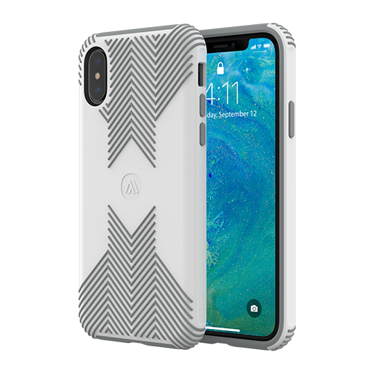Altigo iPhone XR Case - Protective, Shock Absorbent, with Textured Shell (White/Grey)