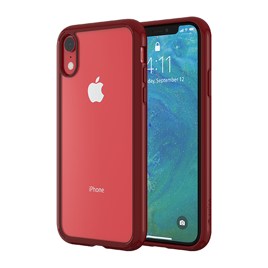 Altigo iPhone XR Case - Clear Case with Solid Red Bumper