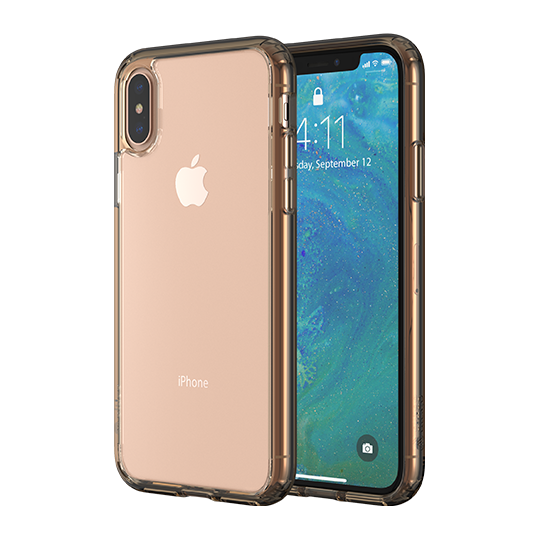 Altigo iPhone XS Case (Also fits iPhone X) - Clear Case with Gold Crystal Bumper
