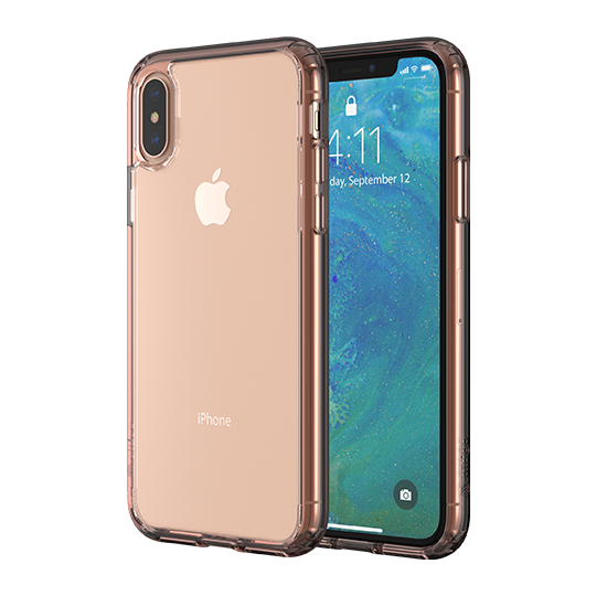 Altigo iPhone XS Case (Also fits iPhone X) - Clear Case with Pink Crystal Bumper
