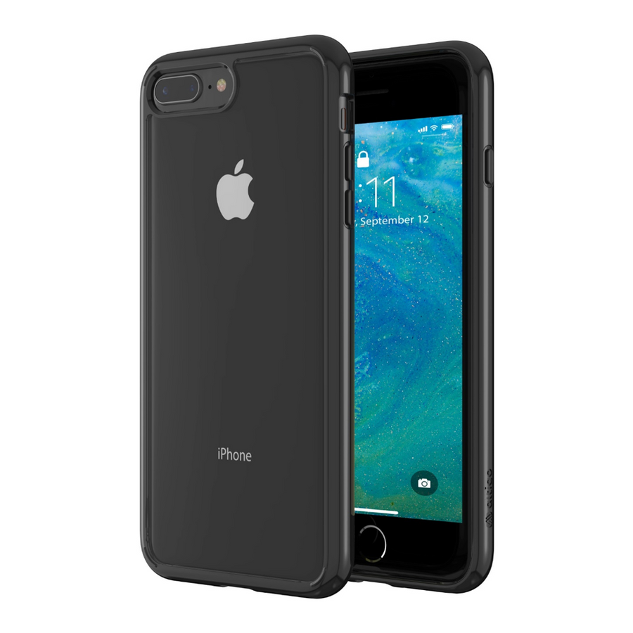 Altigo iPhone 8 Plus Case (Also fits iPhone 7 Plus) - Clear Case with Solid Black Bumper