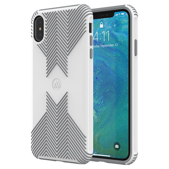 Altigo iPhone Xs Case (Compatible with iPhone X) - Protective, Shock Absorbent, with Textured Shell (White/Grey)