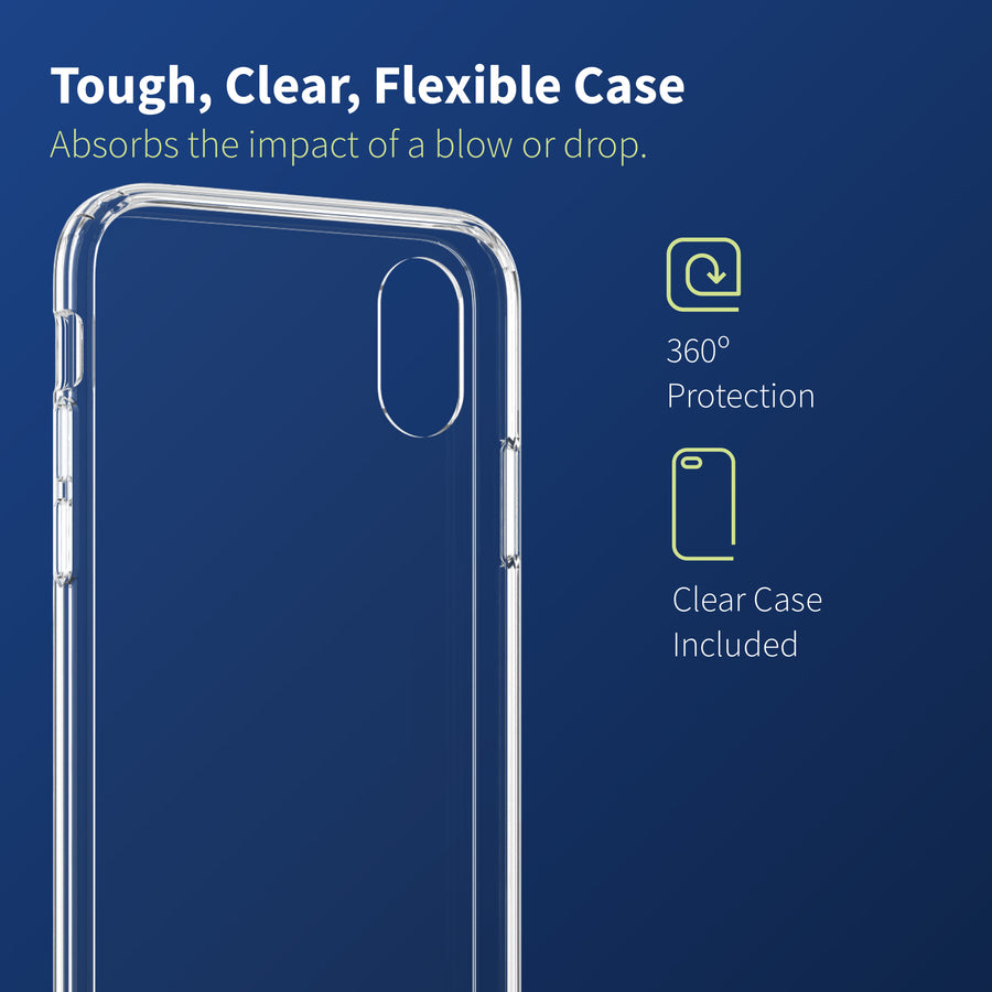 Altigo Triumph iPhone X Case (Also fits iPhone XS) - Clear Case with Screen Protector