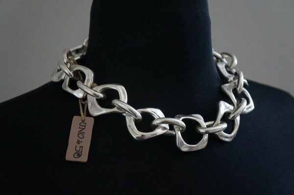 "NWT Uno De 50 Silver Square Chunky Ring Chain ""Eres Mia"" Short Necklace"