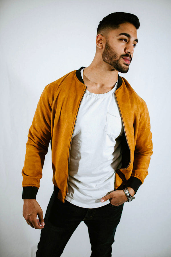 Suede Bomber Dapper Brown