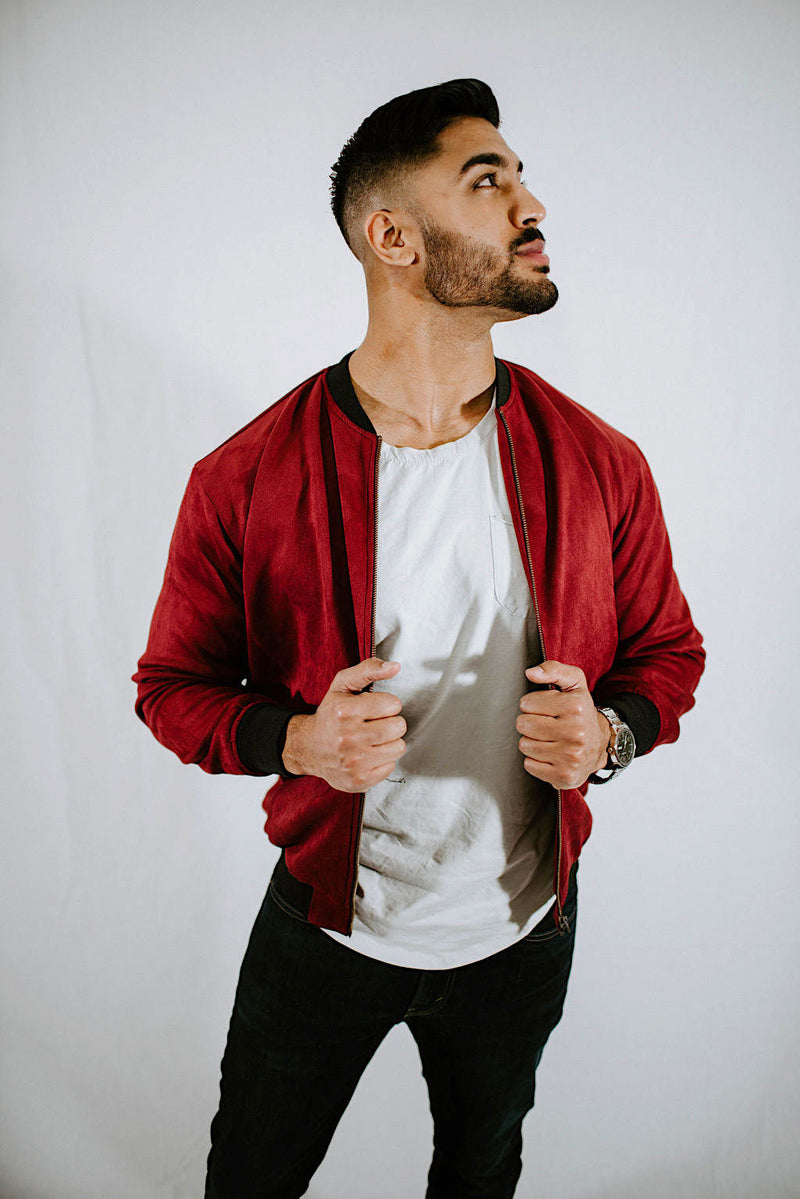 Suede Bomber Ruby Red