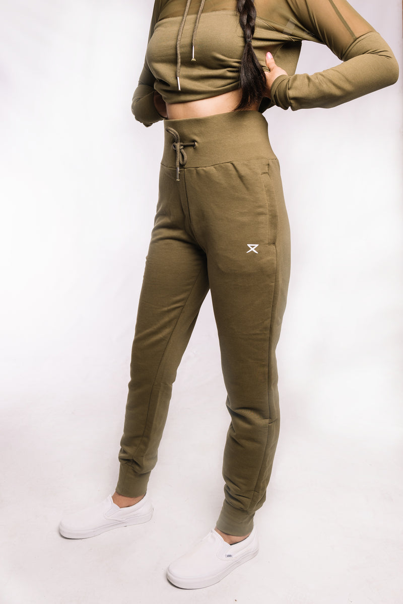 Olive Green Fitted Joggers