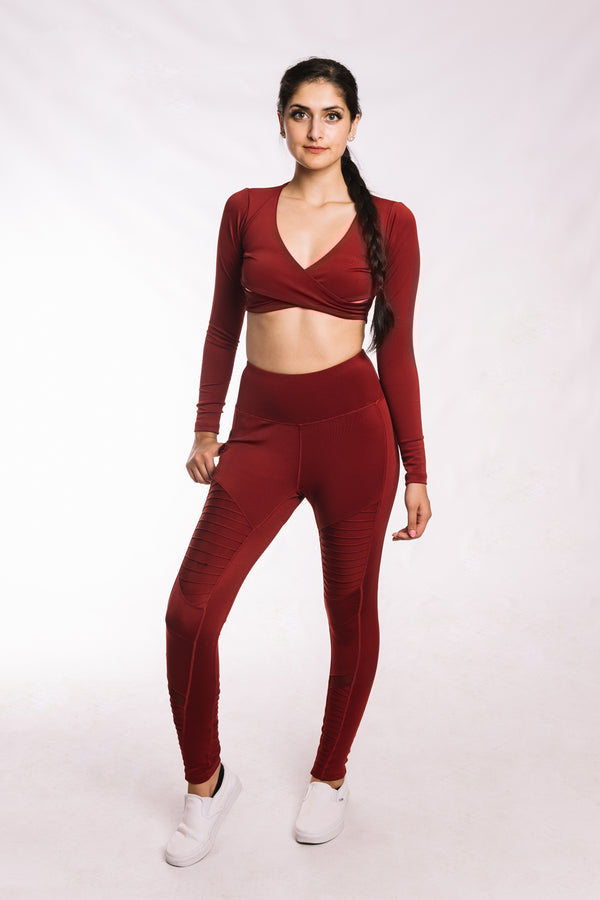 Wine Red Moto Leggings