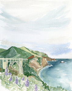 Big Sur Original Watercolor Painting- 11x14