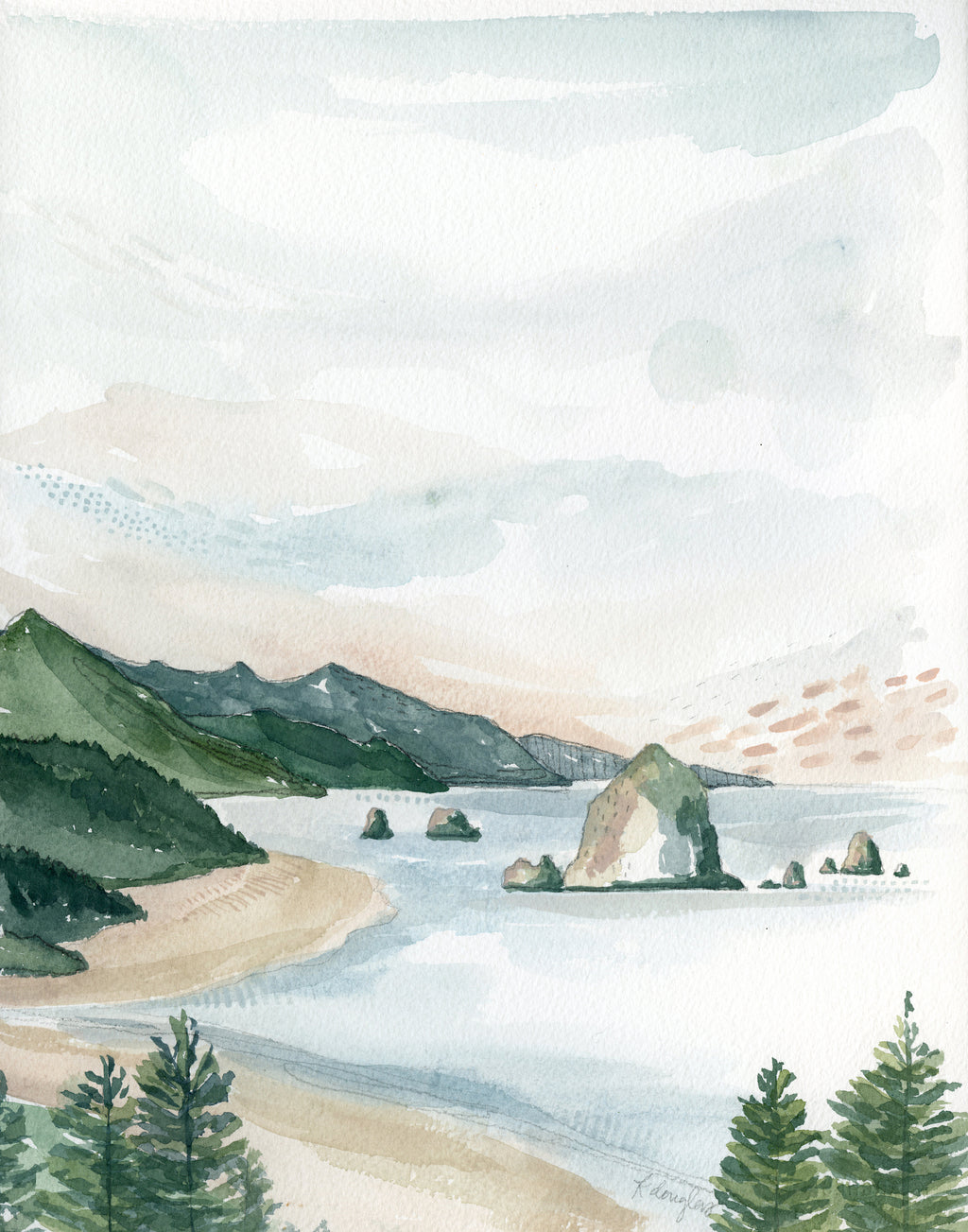 Cannon Beach Original Watercolor Painting- 11x14