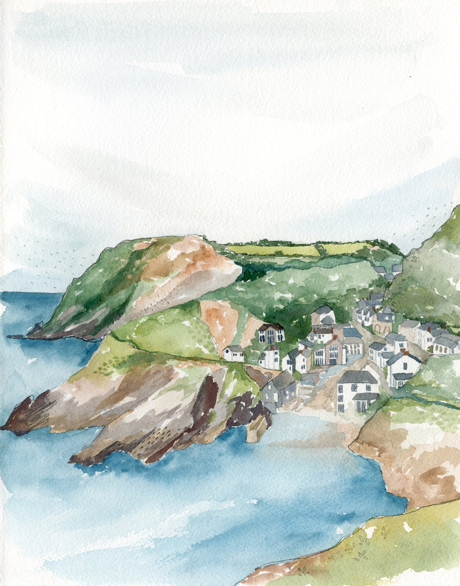 Cornwall Coast Original Watercolor Painting- 11x14