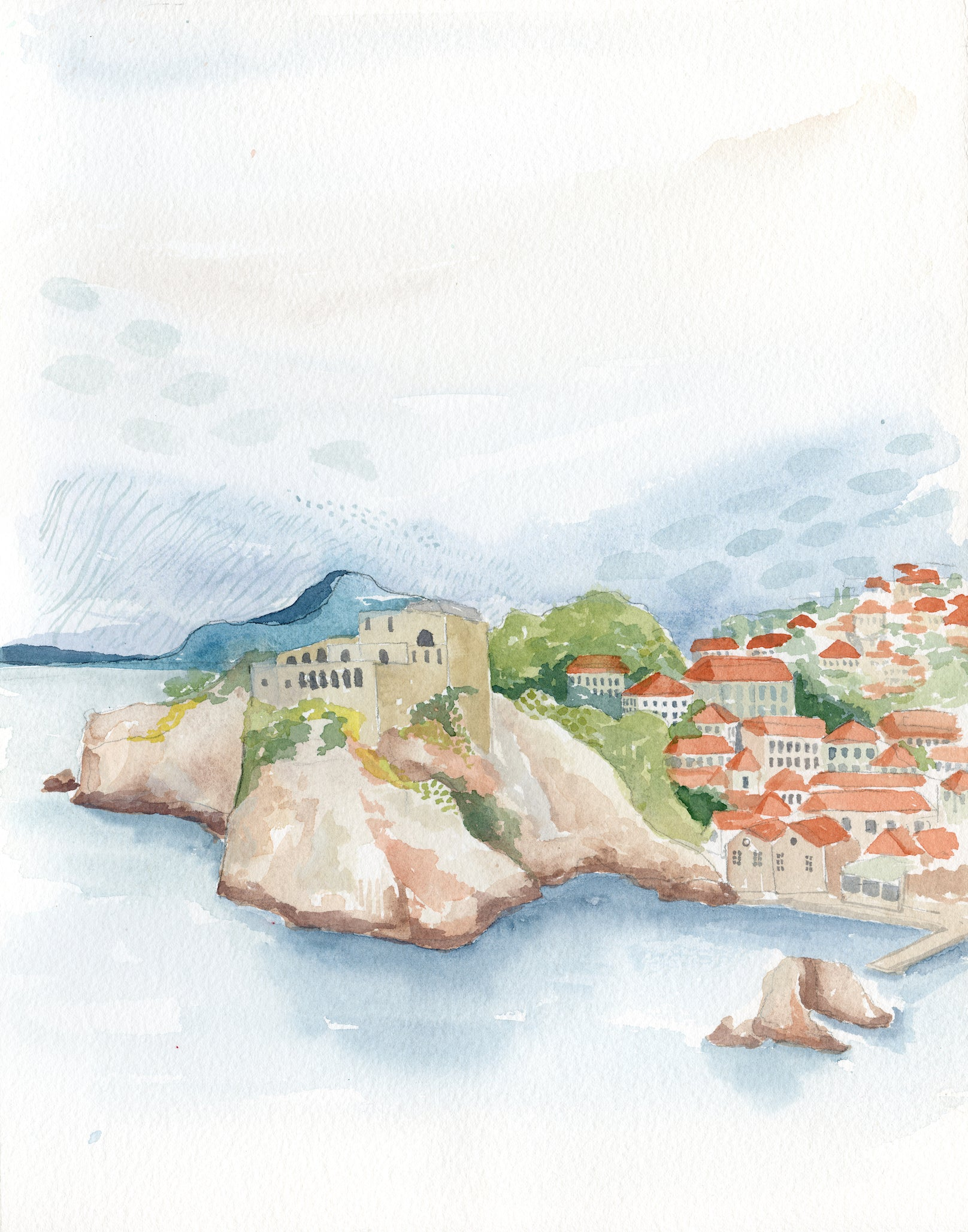 Croatia Original Watercolor Painting- 11x14