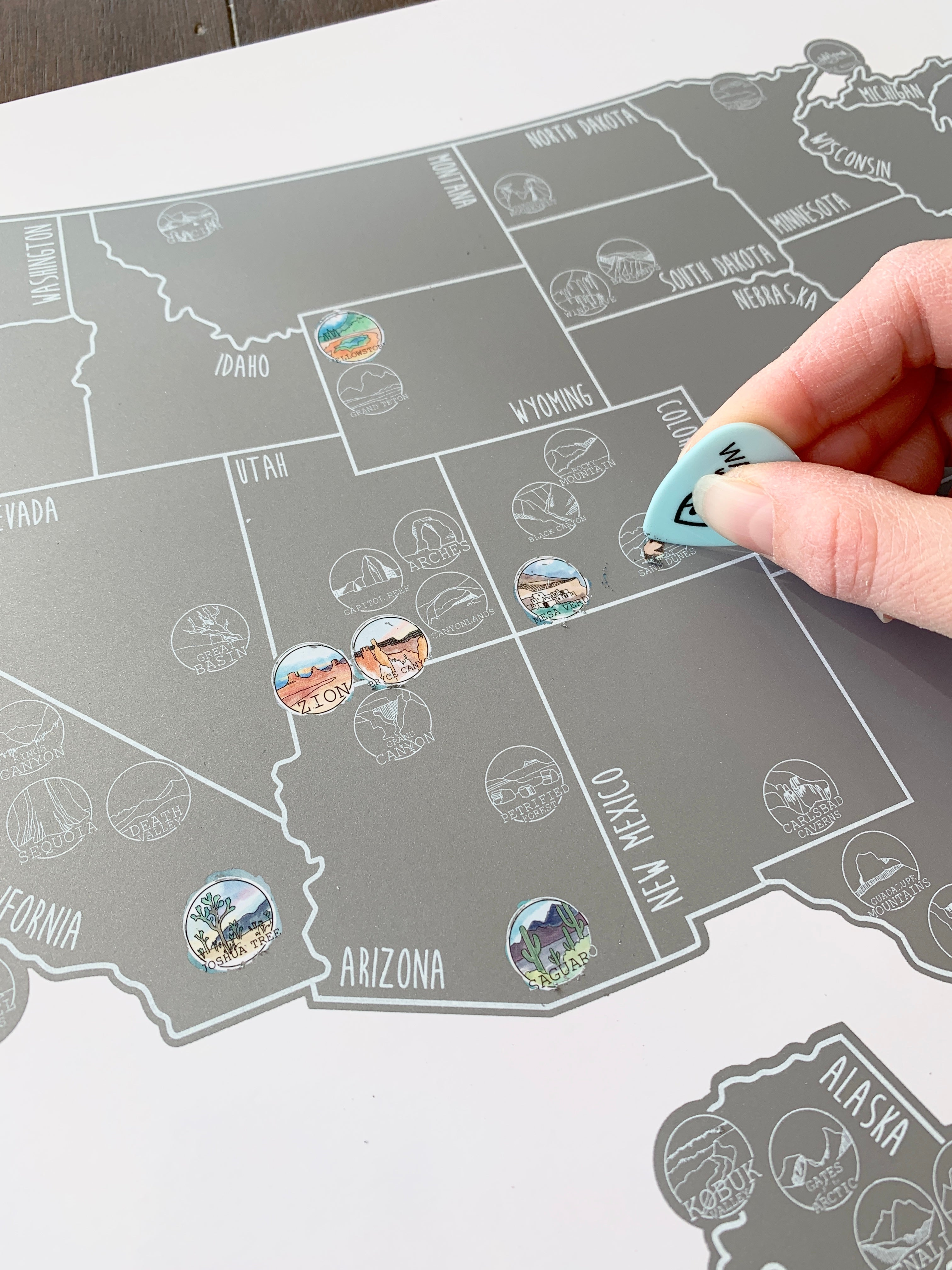 National Parks Map - Silver Scratch Off