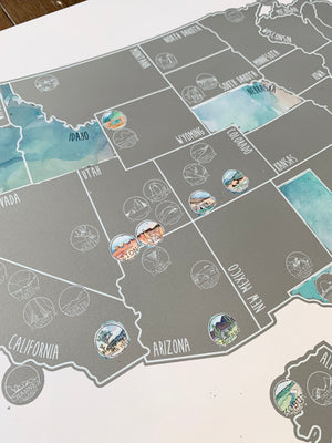 Pre-Order National Parks Map - Silver Scratch Off