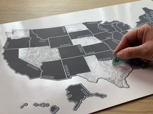 'Grey Topo' - Silver United States Scratch Off Map