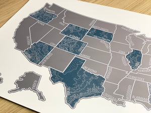 'Blue Topo' - Silver United States Scratch Off Map