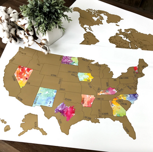 Large US Watercolor Scratch Off Map - Been There Scratched That - United States (20x30in)