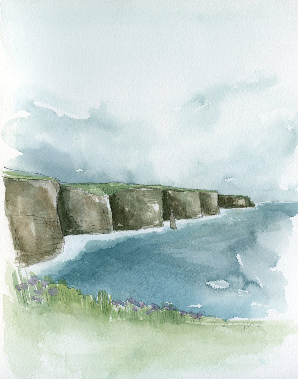 Cliffs of Moher Original Watercolor Painting- 11x14