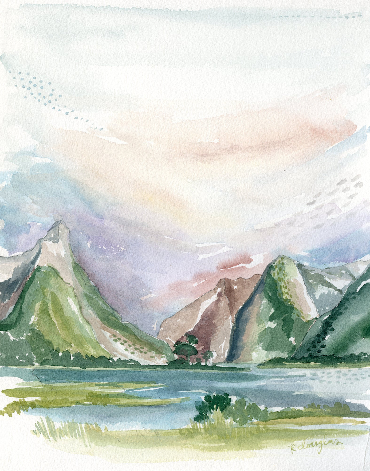 New Zealand Original Watercolor Painting- 11x14