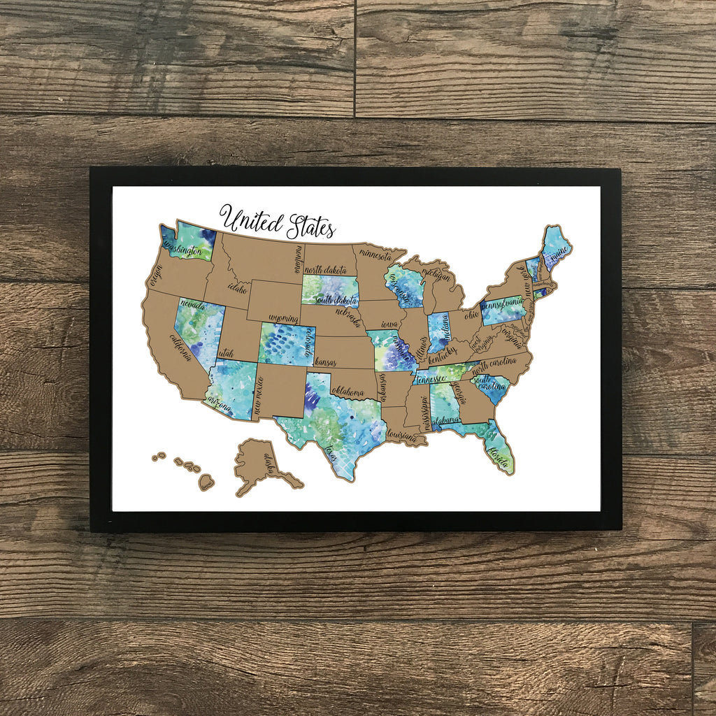 'Traveling Blues' United States Scratch Off Map