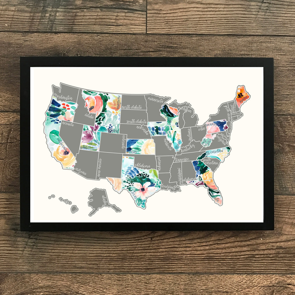 'Rose Less Traveled' - Silver United States Scratch Off Map