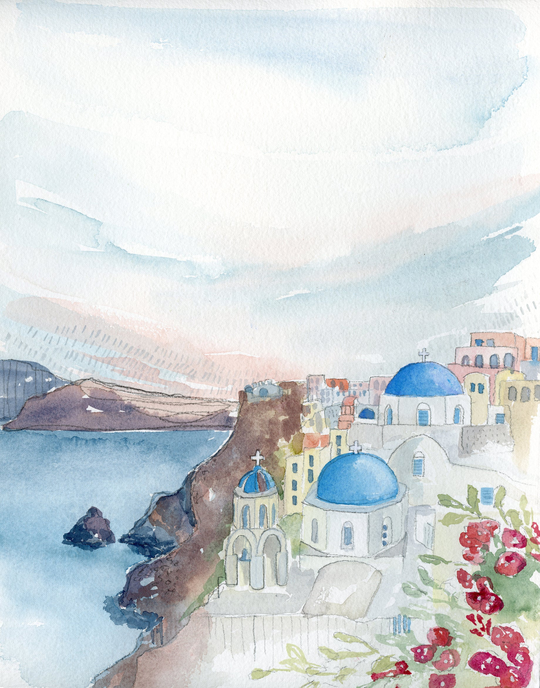 Santorini Original Watercolor Painting- 11x14