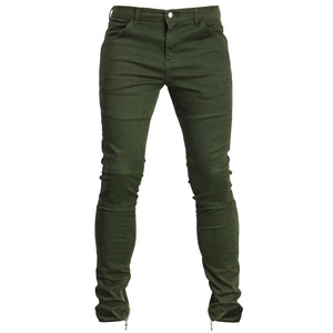 Ankle Zip Skinny Pants : Dark Olive