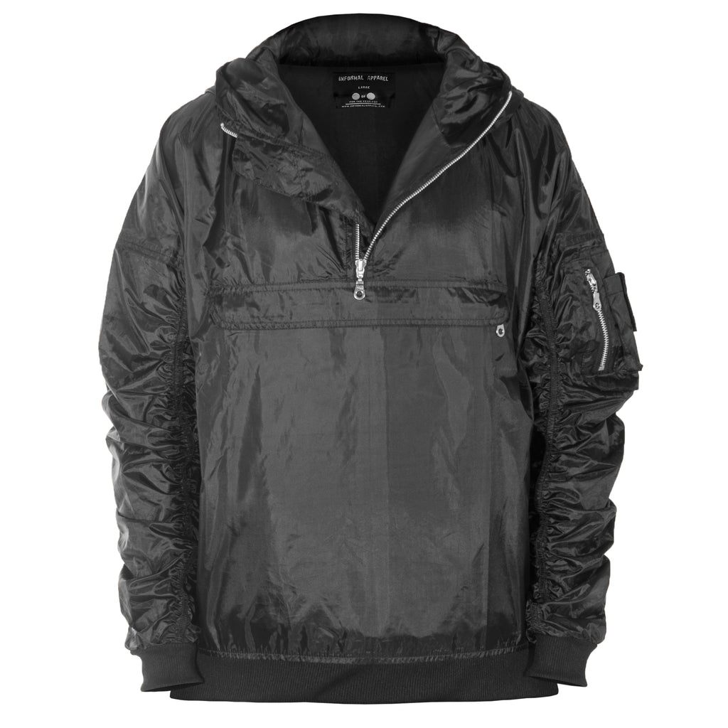 Anorak Hooded Bomber Jacket : Black