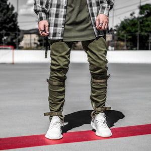 Strapped Ankle Zip Jeans : Olive