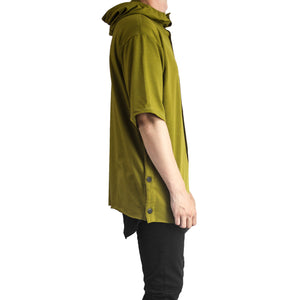 Buttoned Hoody : Burnt Olive